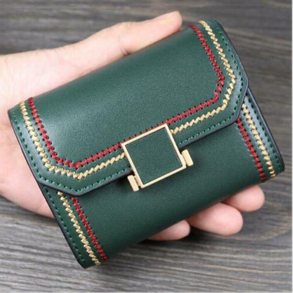 Women Small Wallet Lady Bifold Leather Card Holder RFID Blocking Mini Purse US Clothing, Shoes & Accessories