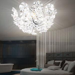 Decken Lampe Schlafzimmer Halb Kugel Leuchte Chrom Acryl Blüten rund Beleuchtung