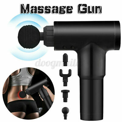 Schwarz 3600r/min 6 Gear Massage Gun Massagepistole Muscle Massager mit 4 Köpfe