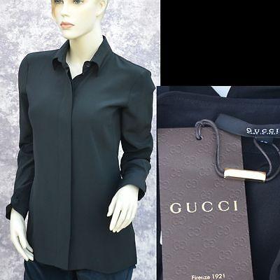 GUCCI New sz 4 - 40 Authentic Womens Designer 100% Silk Top Shirt Blouse Black