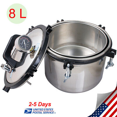 Portable 8l Pressure Steam Autoclave Sterilizer Dental Medical Sterilization Us