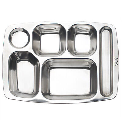Rectangle Food Serving Tray Silver Compartment Divided Metal Cafeteria 4 5 6 7