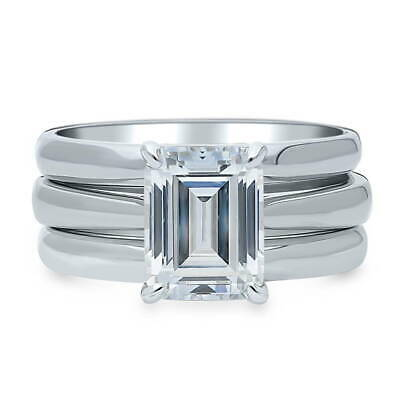 BERRICLE Sterling Silver Emerald Cut CZ Solitaire Engagement