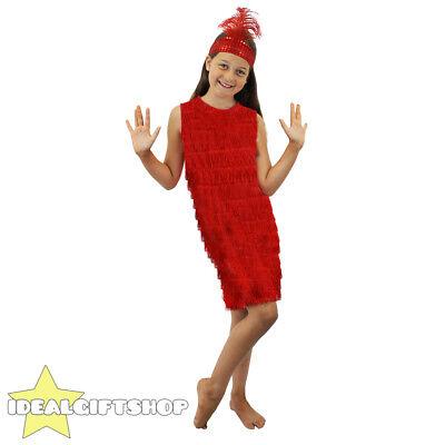 RED GIRLS FLAPPER FANCY DRESS FRONT FRINGE COSTUME - Kinder Flapper Kleider
