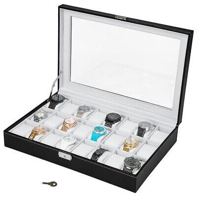Caja Guarda con Llave 24 Relojes Tapa de Cristal con Interior Blanco...