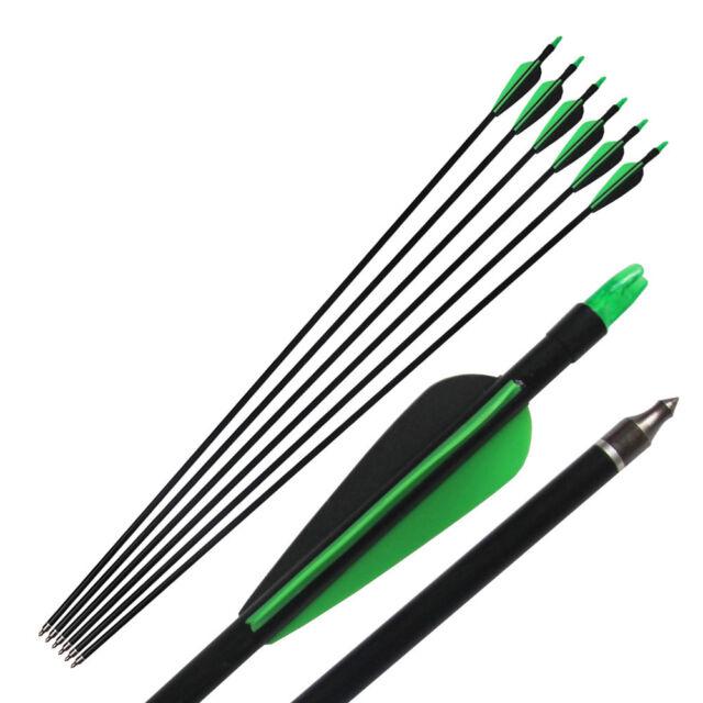 "6X Archery Arrow Hunter 33"" Fletched Arrows Fiberglass Target Practice Hunting"