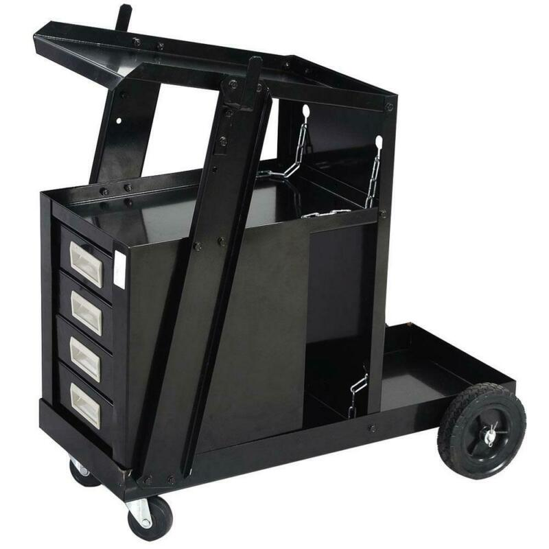 NEW Welding Cart w/4 Drawer Cabinet MIG TIG ARC Plasma Cutter Tank Storage Black