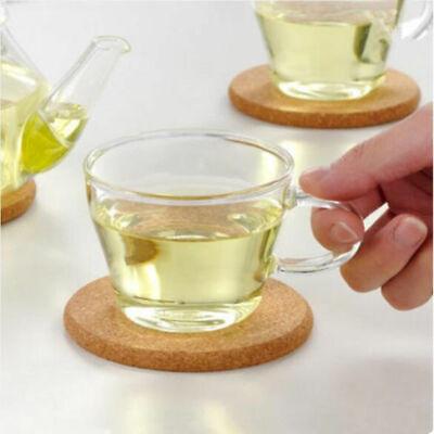 6X Cork Wood Drink Tea Coffee Silicone Cup Coaster Mat Pad Table Decor Tableware