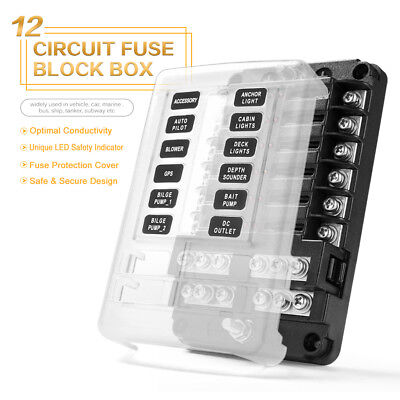 12-Circuit Blade Fuse Block Box Holder LED Cover Waterproof Durable Protection
