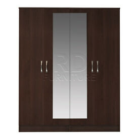 Beatrice 4 door mirrored wardrobe walnut effect