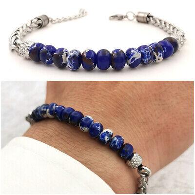 Bracciale da uomo in acciaio inox con pietre dure braccialetto maglie catena blu