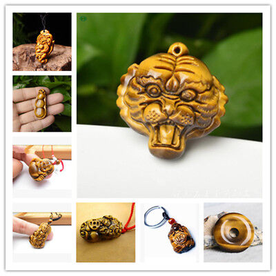 (Natural Tiger's Eye Stone Hand Carved Lucky Amulet Tiger Pendant)