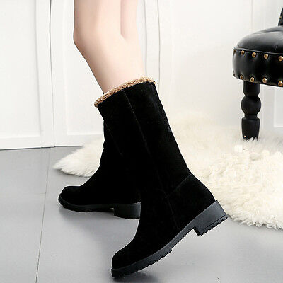 Fashion Women Scrub Plush Winter Snow Boots Flat Casual Ankle Mid-Calf Boots