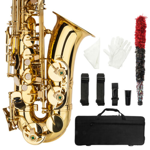 Купить Professional Alto Eb Saxophone Sax Gold w/ Case Mouthpiece & Accessories