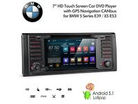 "7"" Android Car Radio SatNav USB SD AUX Bluetooth Stereo For BMW 5 Series E39 X5 E53"