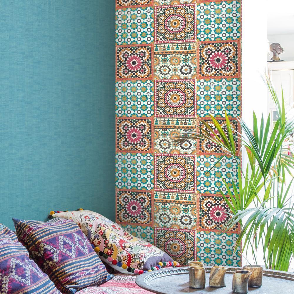 grandeco tapete luxus botanisch marokkanische kachel muster orange pink ebay. Black Bedroom Furniture Sets. Home Design Ideas