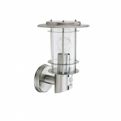 SEARCHLIGHT 6211 - Garden Lantern Light Fitting Satin / Silver with PIR