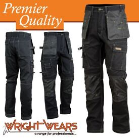 Men Work Cargo Trouser Black Pro Heavy Duty Multi Pockets