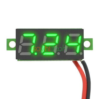 0.28 Inch 2 Wire Green Mini Dc Digital Panel Voltmeter Panel Mount Led Voltage