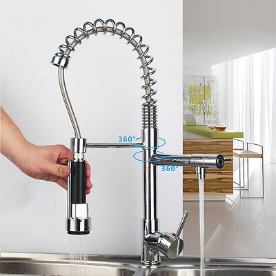 US Chrome Kitchen Swivel Spout Single Handle Sink Faucet Pull Down Spray Mixer