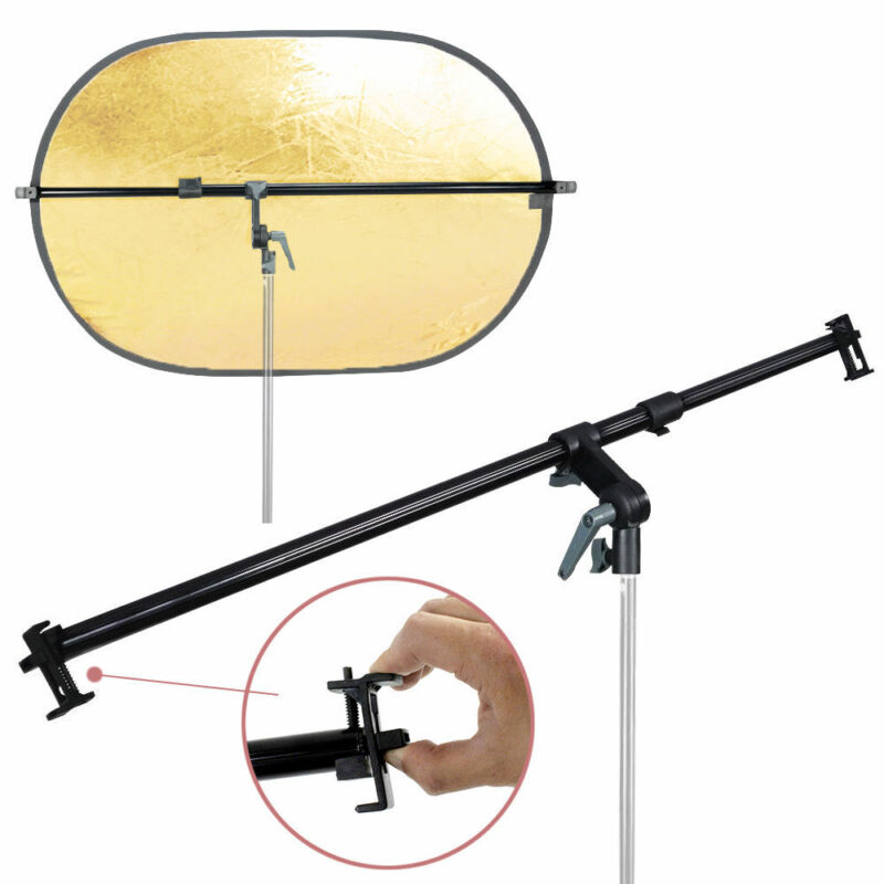 PRO Studio Photo Holder Bracket Swivel Head Reflector Disc Arm Support 26-48""