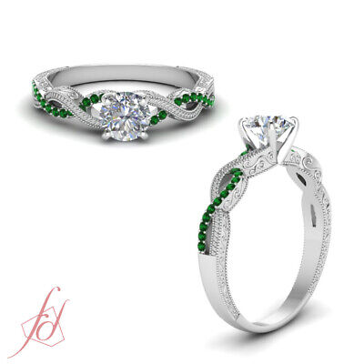 1 Carat Round Cut Diamond Antique Inspired Engagement Ring With Emerald Gemstone