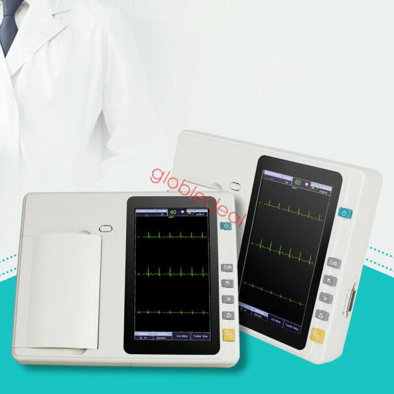 Portable ECG Monitor EKG Machine 3 Channel 12 Leads Electrocardiograph Printer