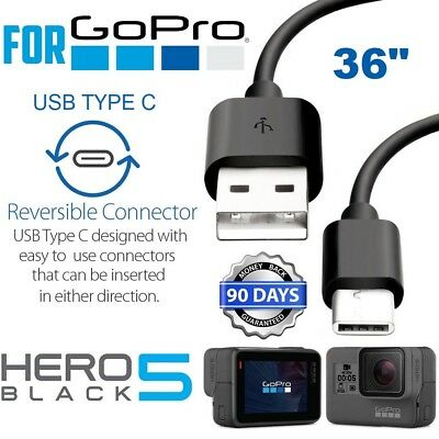 for GoPro Hero 6 5 Session 3FT Type C USB Sync Charge Cable Cord - Black
