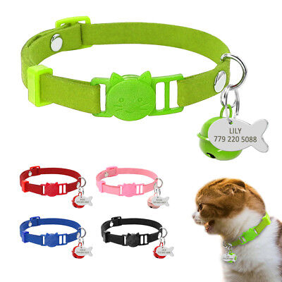 Personalized Cat Collars Soft Suede Quick Release Breakaway ID Tag&Bell Safety  ()