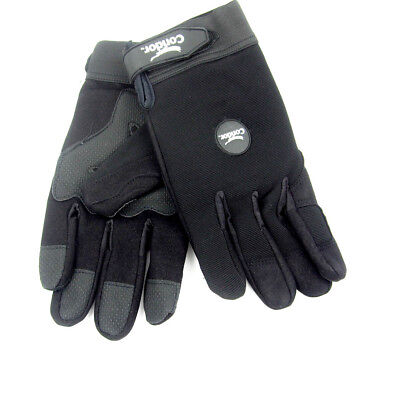Black Anti-Vibration Gloves with Synthetic Leather Palm - Size Medium Synthetic Leather Palm Gloves