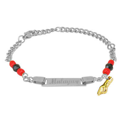 Custom Gold Azabache Bracelet for Kids with Red hand Protection ID Bracelet-15