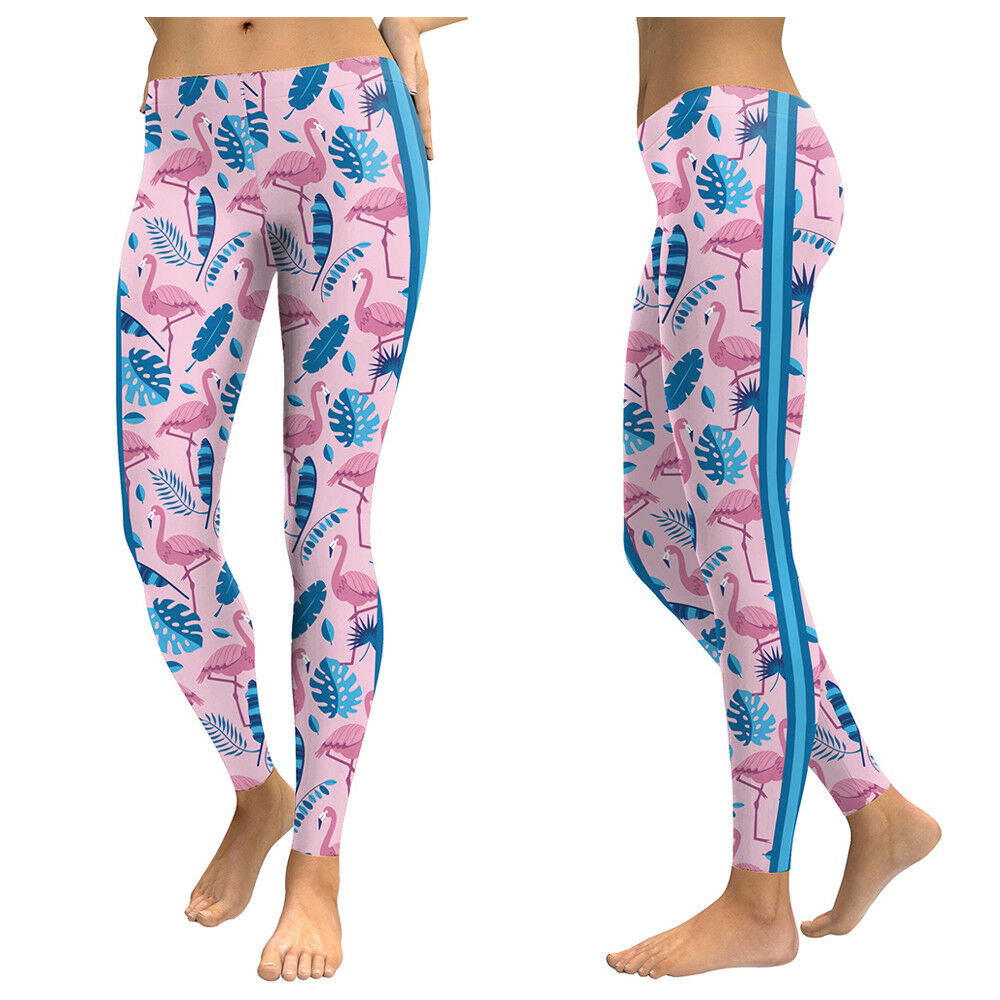 Flamingo Pattern Print Womens Yoga Harem Pants