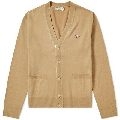 NEW GENUINE MAISON KITSUNÉ Virgin Wool Classic Cardigan - Small - Mens