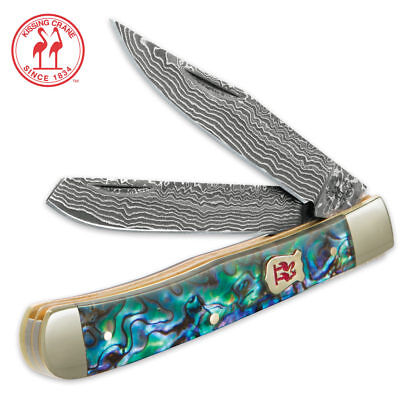 Kissing Crane Genuine Abalone Damascus Trapper Pocket Knife New KC5220D