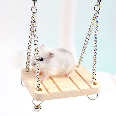 Wooden Hamster Toy Swing Rat Bird Mouse Exercise Cage Hanging Bell Pet Play
