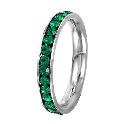 Stainless Steel Eternity Emerald Crystal May Birthstone Stackable Ring -