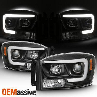 Fits 2006-08 Dodge RAM 3500 2500 1500 Pickup Black DRL LED Projector Headlights