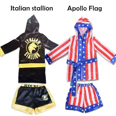 Rocky Italian Stallion Robe (Kid Boxing Costume Robe Rocky Balboa Movie Apollo American Flag Italian)