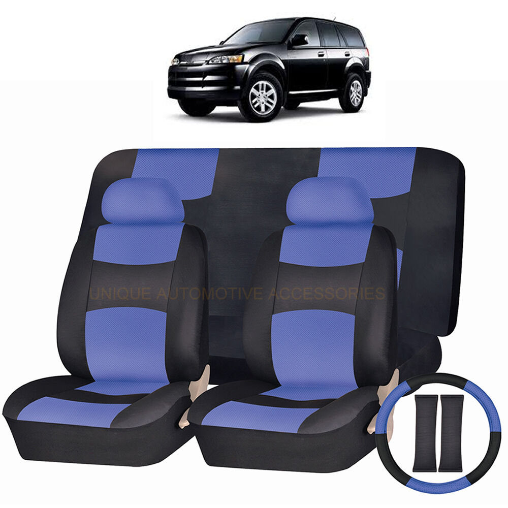 Black Leather Look Car Seat Covers Cover Set For Isuzu Trooper 1992-2003