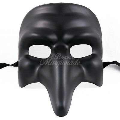 Medieval Plague Doctor Venetian Masquerade Mask for Men W7338 [Black] (Venetian Doctors Mask)