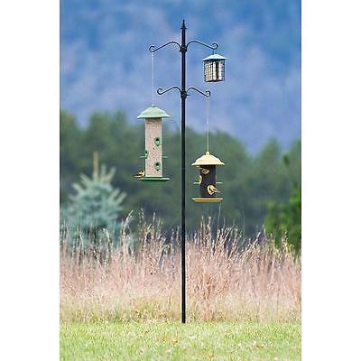 Bird Seed Feeder Pole Kit Station Outdoor Living Garden Backyard Platform Holder