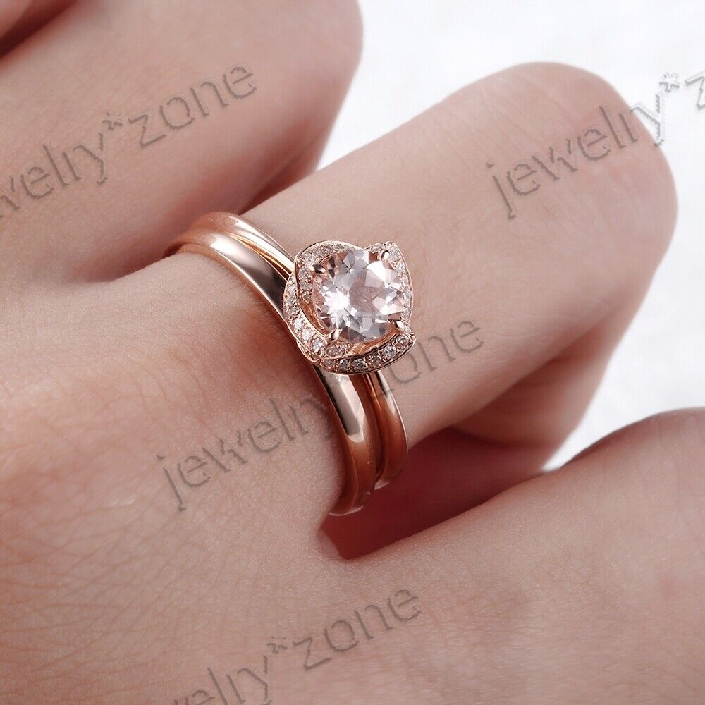 Sale 18K Rose Gold Round Cut Morganite Diamond Ring Sets Wedding ...