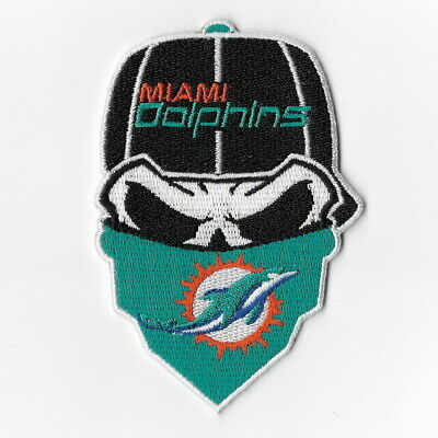 Miami Dolphins Iron on Patches Embroidered Badge Patch Applique Skull Mask -