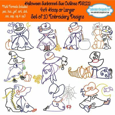 Halloween Sunbonnet Sue Outline Machine Embroidery Designs Set of 10 CD or USB
