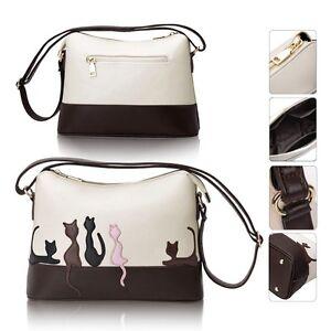 Fashion Cute Designer Women Leather Cat Tote Shoulder Bag Ladies Messenger Bag