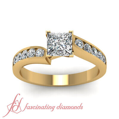 1 Carat GIA Certified Princess Cut And Round Diamond Channel Set Engagement Ring 1