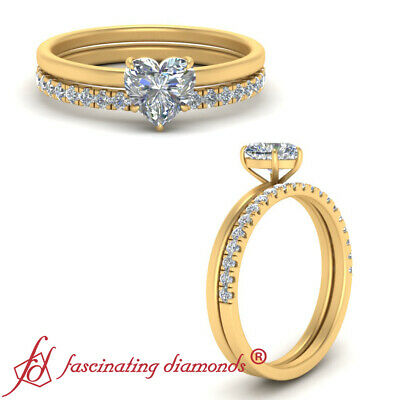 .75 Ctw Heart Shaped Diamond Thin Band Wedding Ring Set For Women In Yellow Gold