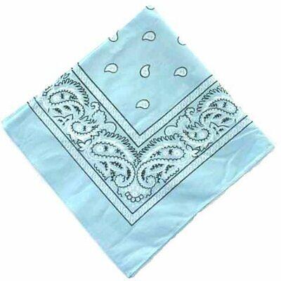 Cotton Bandana Scarf Light Blue Black White Classic Paisley Extra Large XL 27 in - Light Blue Bandana