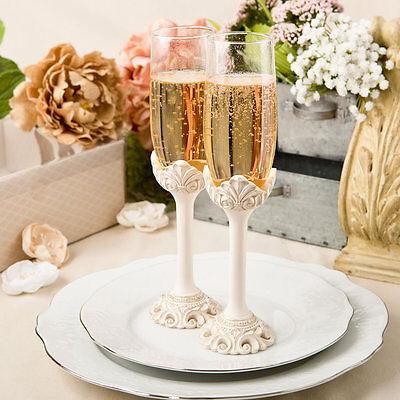 Vintage Antique Ivory Wedding Champagne Toasting Flutes Glasses ENGRAVING Gift