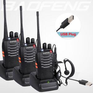 3Pcs BaoFeng Walkie Talkie BF-888S UHF 400-470MHZ 2-Way Radio 16CHs Long Range